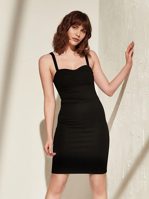 Kadın İncelten Etkili Kalp Yaka Esnek Elbise