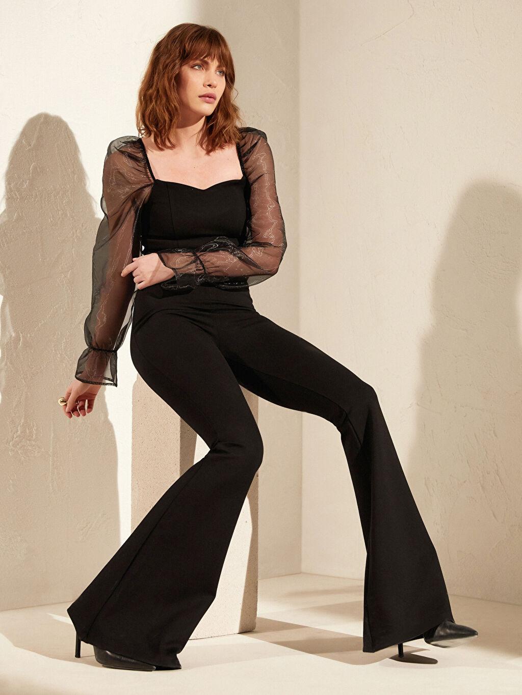 Kadın İncelten Etkili İspanyol Paça Esnek Pantolon