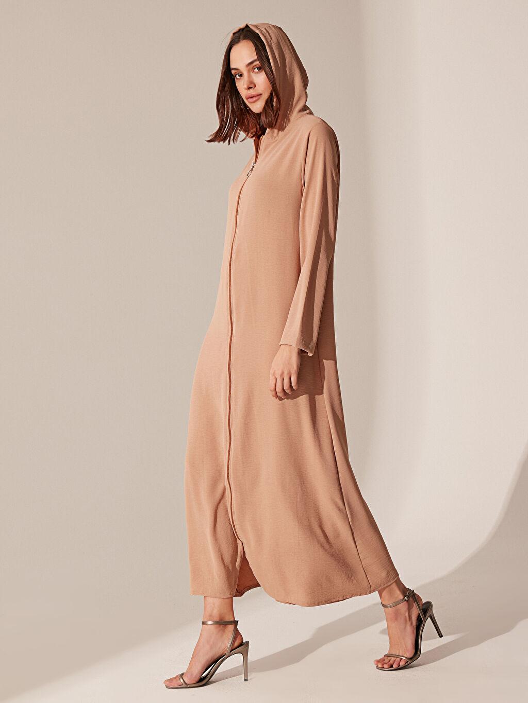 Bej Fermuarlı Kapüşonlu Elbise 0SQ325Z8 LC Waikiki