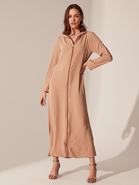 %100 Polyester Uzun Düz Uzun Kol Fermuarlı Kapüşonlu Elbise