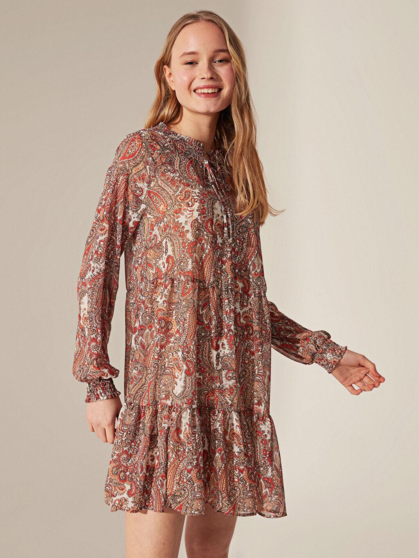 Kadın Desenli Salaş Şifon Elbise