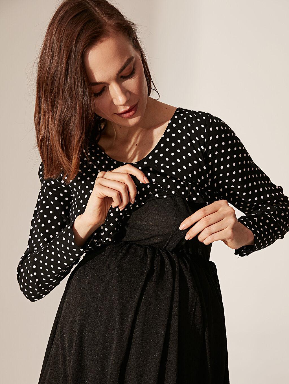 %36 Keten %64 Viskoz %100 Viskoz %100 Polyester Elbise Emzirme Özellikli Puantiyeli Fırfır Detaylı Hamile Elbise