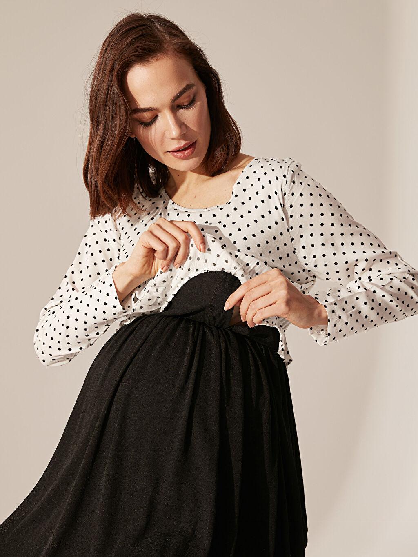 %36 Keten %64 Viskoz Emzirme Özellikli Puantiyeli Fırfır Detaylı Hamile Elbise