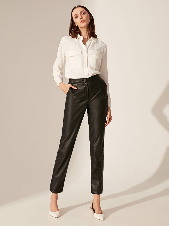 Yüksek Bel Esnek olmayan Havuç Kısa Paça Pantolon Deri Görünümlü Yüksek Bel Havuç Pantolon