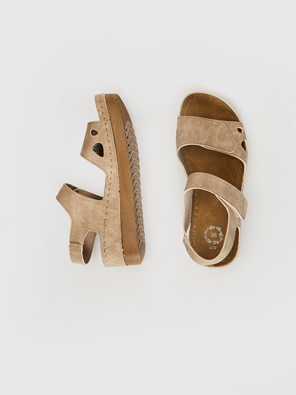 Diğer malzeme (poliüretan)  Kadın Kalın Taban Cırt Cırtlı Sandalet
