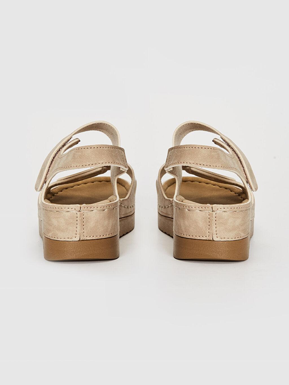Kadın Kalın Taban Cırt Cırtlı Sandalet