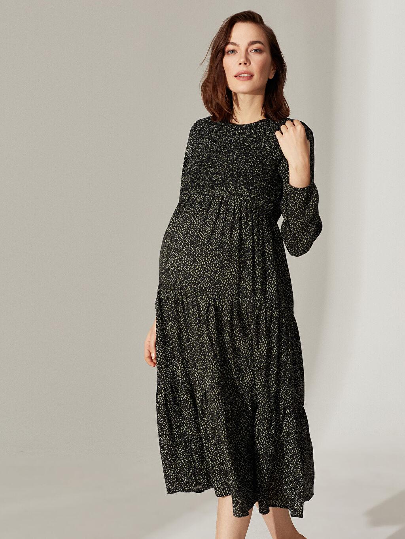 %100 Viskoz Elbise Desenli Fırfır Detaylı Viskon Hamile Elbise