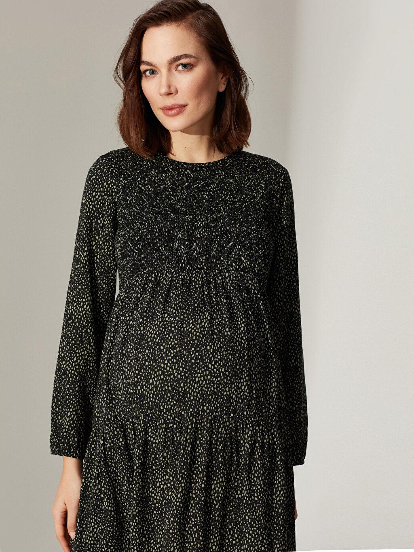 Kadın Desenli Fırfır Detaylı Viskon Hamile Elbise