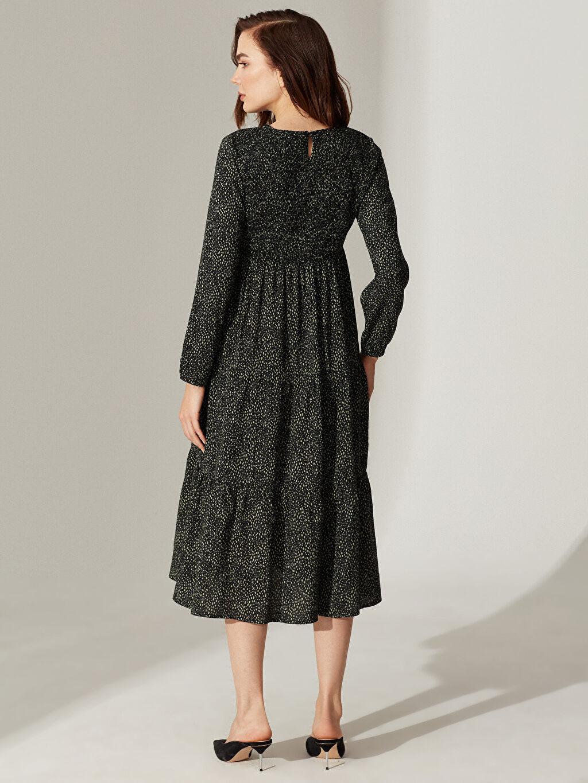 %100 Viskoz Desenli Fırfır Detaylı Viskon Hamile Elbise
