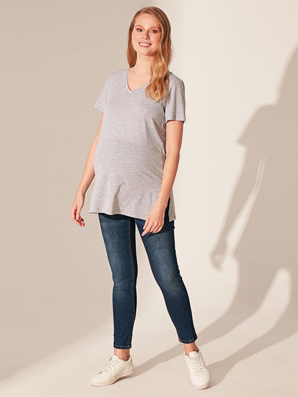 %50 Pamuk %50 Polyester Gömlek, Bluz ve Tunik V Yaka Hamile Tişört