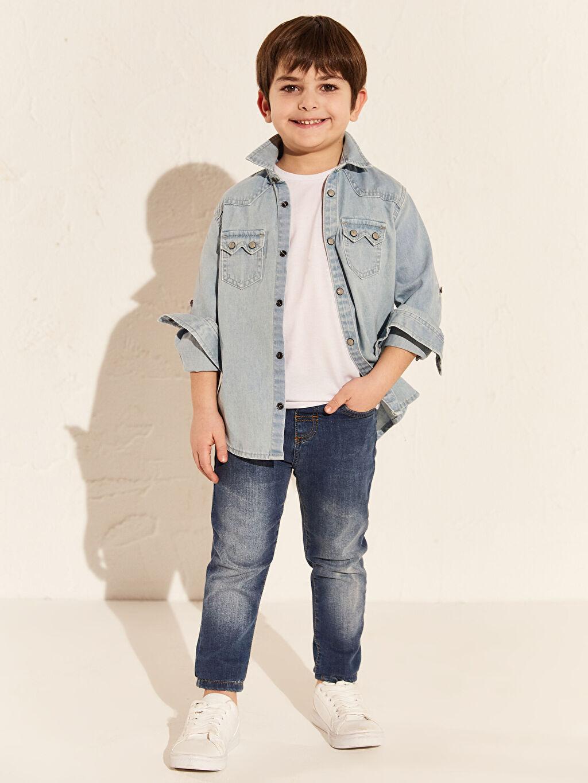 %99 Pamuk %1 Elastan Erkek Çocuk Skinny Jean Pantolon