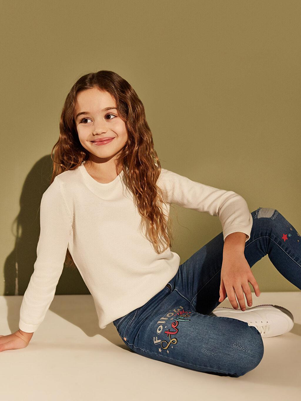 %99 Pamuk %1 Elastan Kız Çocuk Slim Jean Pantolon
