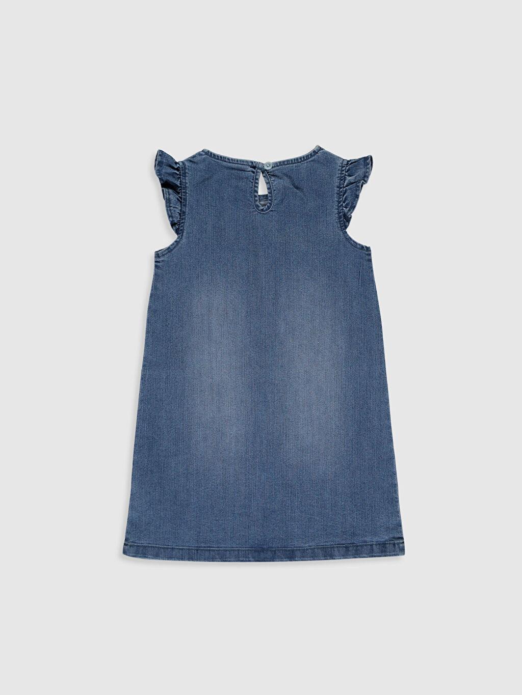 %78 Pamuk %20 Polyester %2 Elastan Diz Üstü Desenli Kız Çocuk Jean Elbise