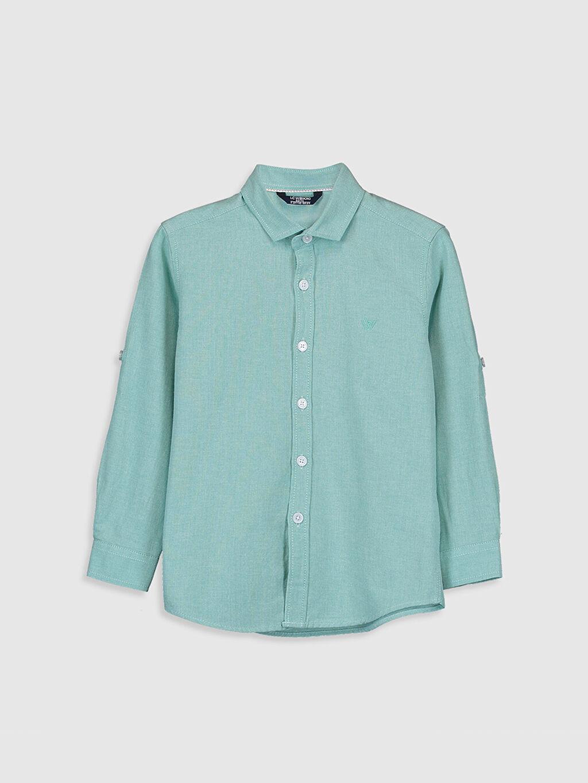 Yeşil Erkek Çocuk Uzun Kollu Oxford Gömlek 0S0894Z4 LC Waikiki