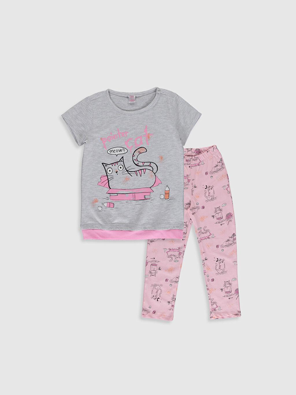 Gri Kız Çocuk Baskılı Pijama Takımı 0S1379Z4 LC Waikiki