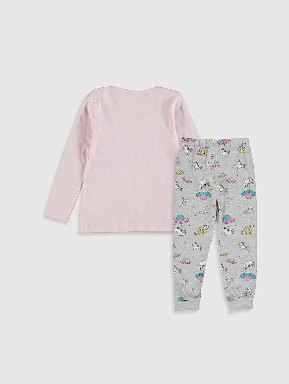 %100 Pamuk Standart Pijamalar Kız Çocuk Unicorn Baskılı Pamuklu Pijama Takımı