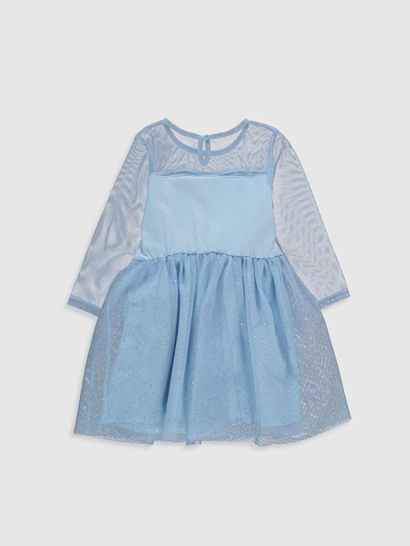 %100 Pamuk Diz Üstü Kız Çocuk Elsa Baskılı Elbise