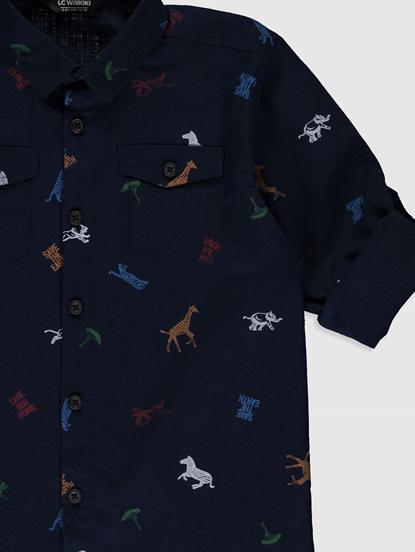 Erkek Çocuk Erkek Çocuk Desenli Uzun Kollu Gömlek