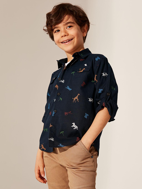%100 Pamuk Erkek Çocuk Desenli Uzun Kollu Gömlek