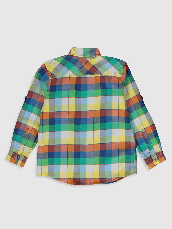%75 Pamuk %25 Polyester Standart Ekoseli Uzun Kol Erkek Çocuk Ekose Twill Gömlek