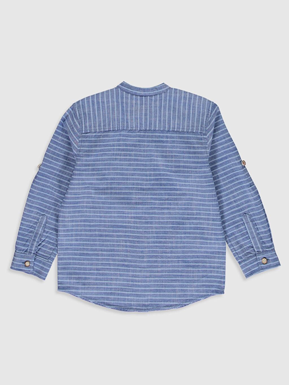 %100 Pamuk Standart Uzun Kol Çizgili Erkek Çocuk Çizgili Pamuklu Gömlek
