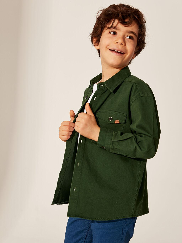 %100 Pamuk Erkek Çocuk Uzun Kollu Twill Gömlek