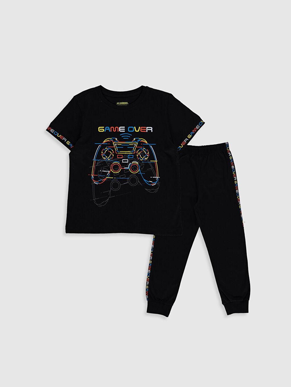Siyah Erkek Çocuk Baskılı Pamuklu Pijama Takımı 0S2077Z4 LC Waikiki