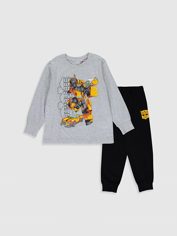 Gri Erkek Çocuk Bumblebee Baskılı Pijama Takımı 0S2188Z4 LC Waikiki