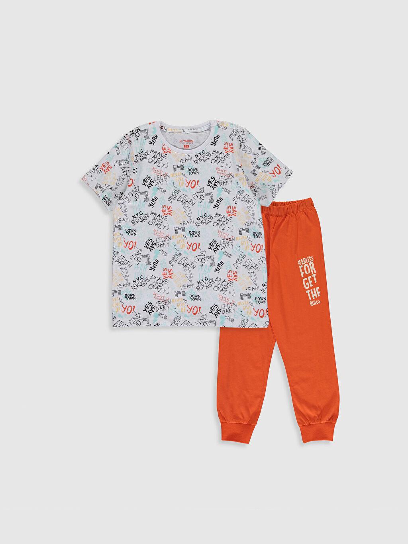 Beyaz Erkek Çocuk Baskılı Pamuklu Pijama Takımı 0S2202Z4 LC Waikiki