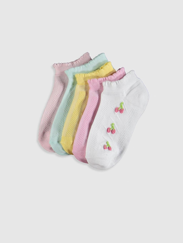 Ekru Kız Çocuk Patik Çorap 5'li 0S2250Z4 LC Waikiki