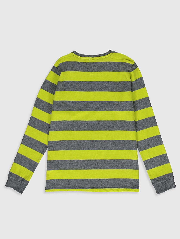 %75 Pamuk %25 Polyester Tişört Uzun Kol Çizgili Normal Bisiklet Yaka Erkek Çocuk Çizgili Pamuklu Tişört