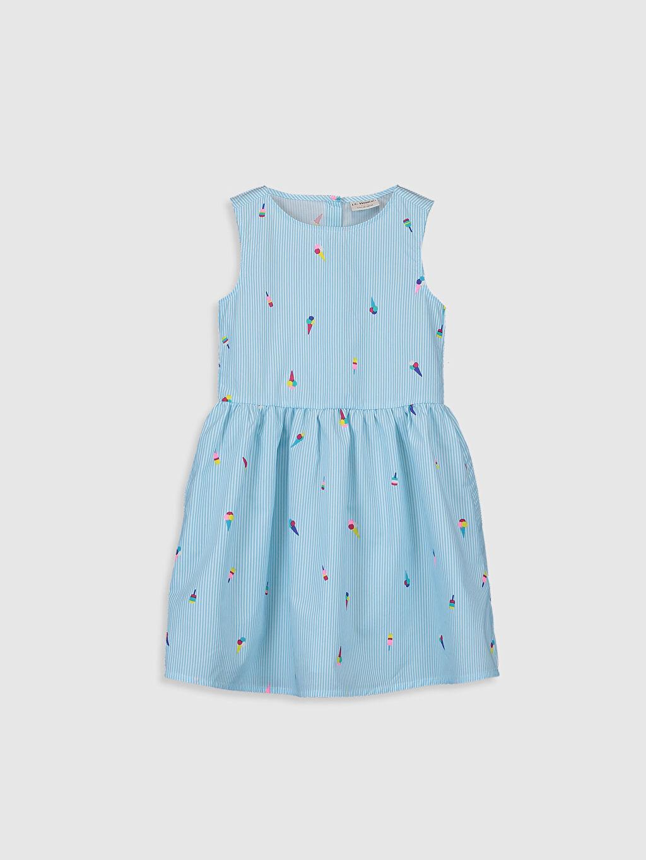 Mavi Kız Çocuk Desenli Pamuklu Elbise 0S2440Z4 LC Waikiki