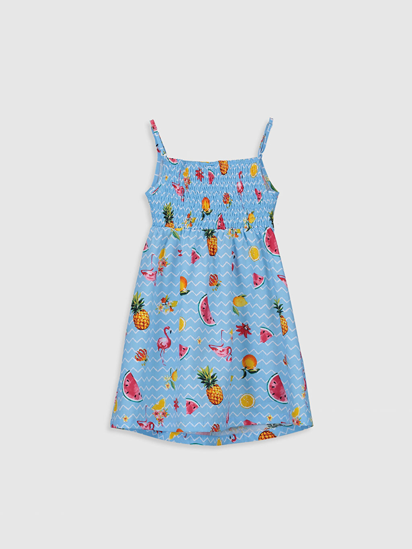 %100 Pamuk Desenli Diz Üstü Kız Çocuk Desenli Elbise