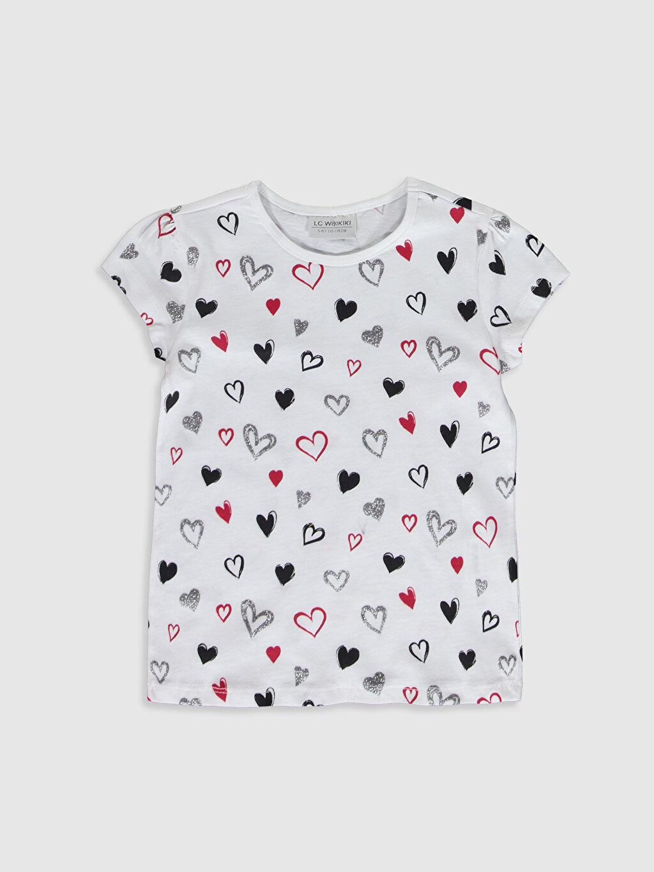 Beyaz Kız Çocuk Baskılı Pamuklu Tişört 0S2539Z4 LC Waikiki