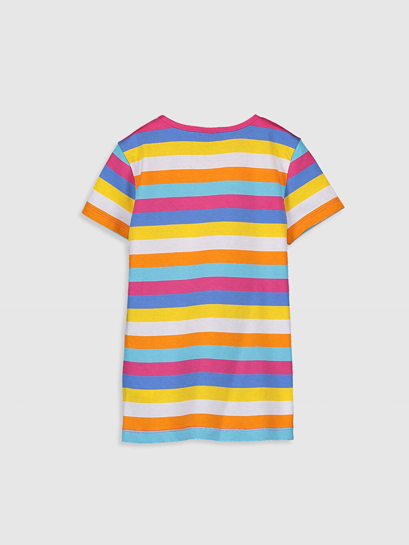 %100 Pamuk Standart Çizgili Tişört Bisiklet Yaka Kısa Kol Kız Çocuk Çizgili Pamuklu Basic Tişört