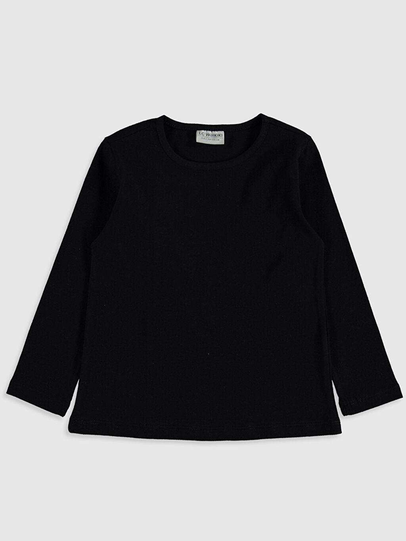 Siyah Kız Çocuk Pamuklu Basic Tişört 0S2547Z4 LC Waikiki