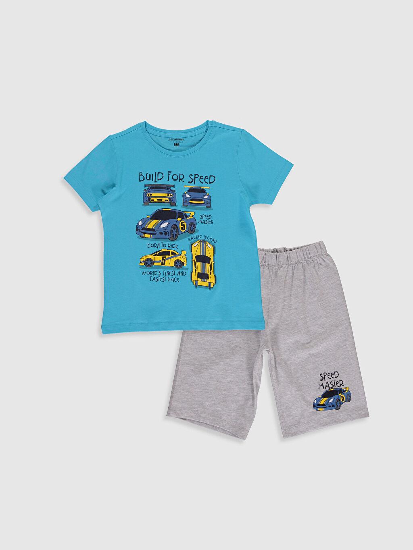 Gri Erkek Çocuk Baskılı Pijama Takımı 0S2572Z4 LC Waikiki