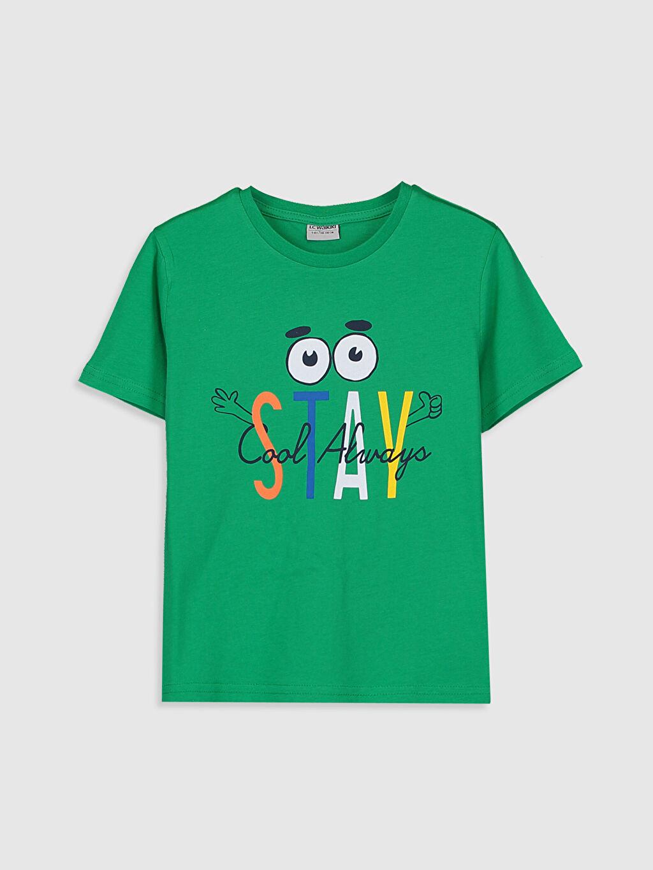 Yeşil Erkek Çocuk Baskılı Pamuklu Tişört 0S2618Z4 LC Waikiki