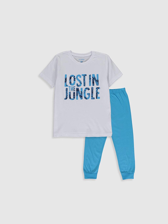 Mavi Erkek Çocuk Baskılı Pamuklu Pijama Takımı 0S2649Z4 LC Waikiki