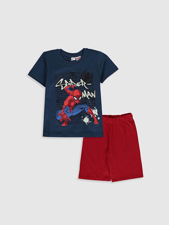 Lacivert Erkek Çocuk Spiderman Pamuklu Pijama Takımı 0S2662Z4 LC Waikiki