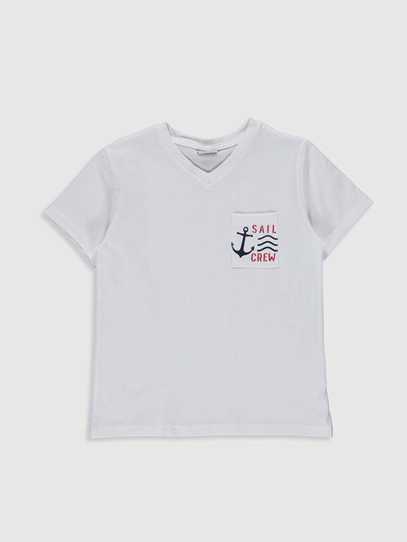 Beyaz Erkek Çocuk Pamuklu Basic Tişört 0S2980Z4 LC Waikiki