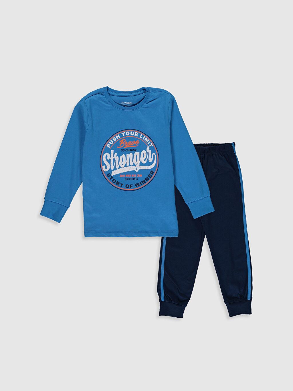 Mavi Erkek Çocuk Baskılı Pijama Takımı 0S3055Z4 LC Waikiki