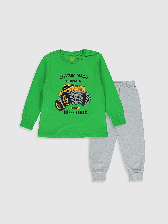 Gri Erkek Çocuk Baskılı Pijama Takımı 0S3056Z4 LC Waikiki