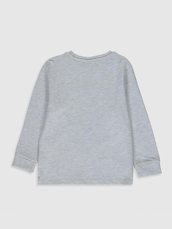 %48 Pamuk %52 Polyester Baskılı Normal Bisiklet Yaka Tişört Uzun Kol Erkek Çocuk Baskılı Tişört