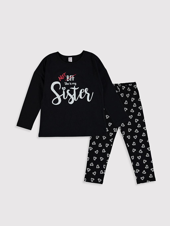 Siyah Kız Çocuk Baskılı Pamuklu Pijama Takımı 0S3135Z4 LC Waikiki