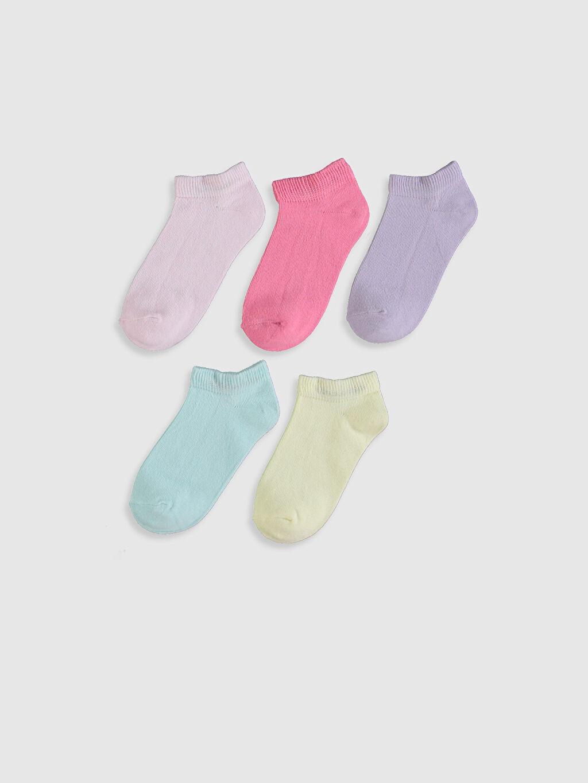 %79 Pamuk %19 Poliamid %2 Elastan  Kız Çocuk Patik Çorap 5'li