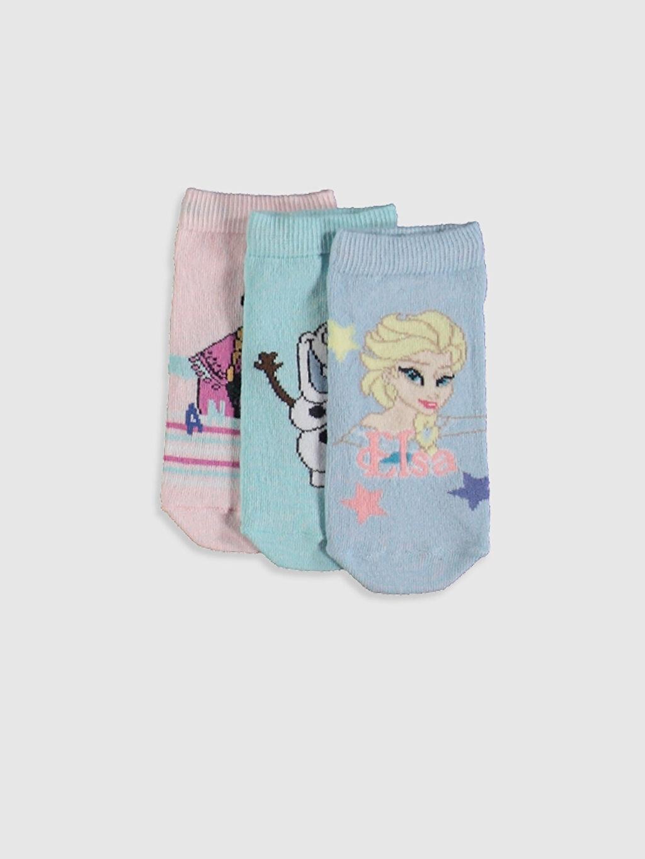 Mavi Kız Çocuk Elsa Desenli Patik Çorap 3'lü 0S3389Z4 LC Waikiki