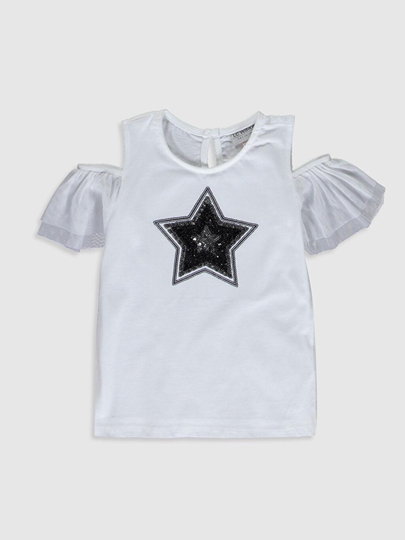 Beyaz Kız Çocuk Omuzu Açık Tişört 0S3396Z4 LC Waikiki