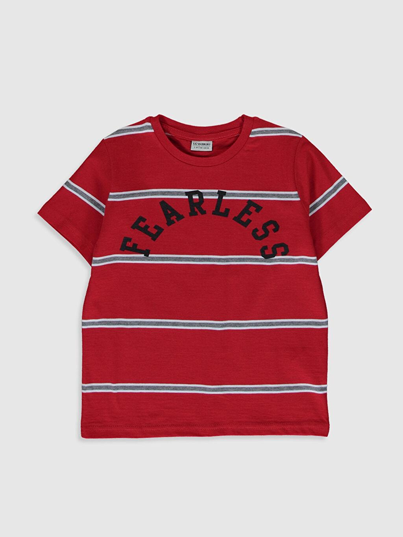Kırmızı Erkek Çocuk Çizgili Pamuklu Tişört 0S3448Z4 LC Waikiki
