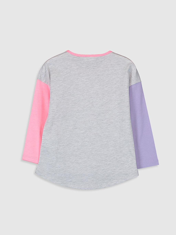 %60 Pamuk %40 Polyester Standart Baskılı Tişört Bisiklet Yaka Uzun Kol Kız Çocuk Baskılı Uzun Kollu Tişört